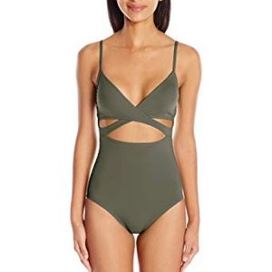 Vince Camuto green wrap one piece swimsuit
